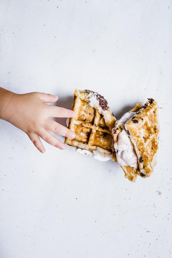 Kid Grabbing Vegan Chocolate Chip Waffle Ice Cream Sandwiches